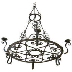 French Forged Iron Chandelier