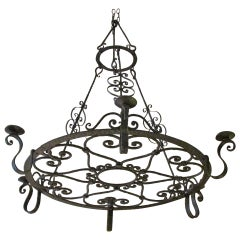 French Forged Large Iron Chandelier