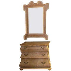 Bleached Wood Commode & Mirror