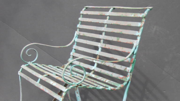 Admirable Classical Strap Iron Garden Bench At 1Stdibs Gamerscity Chair Design For Home Gamerscityorg