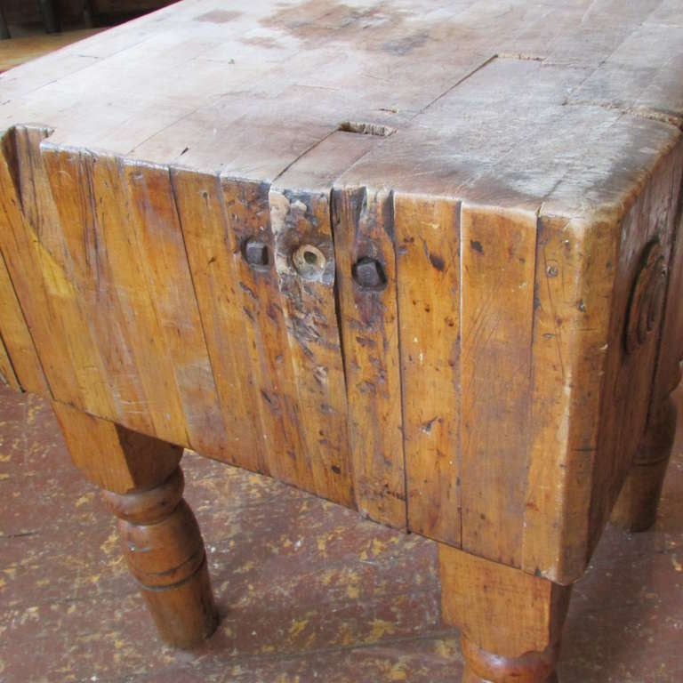 19th Century Butcher Block Table At 1stdibs