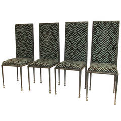 Architectural Modernist High Back Iron Chairs