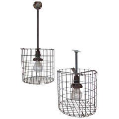 1930's American Industrial Cage Lights