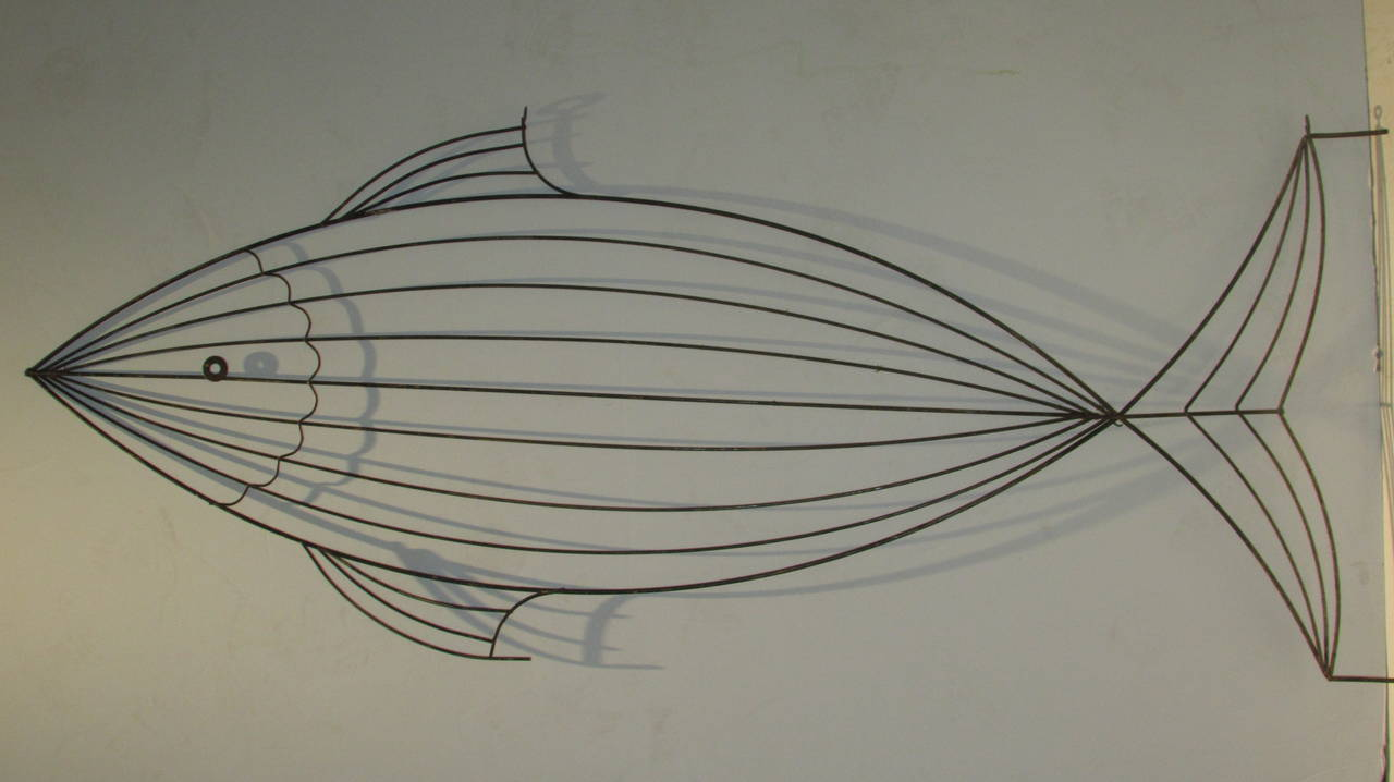 Oversized Metal Wire Fish Sculpture Style of Frederick Weinberg at ...