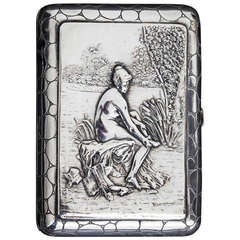 Continental Silver Cigarette Case with Female Nude