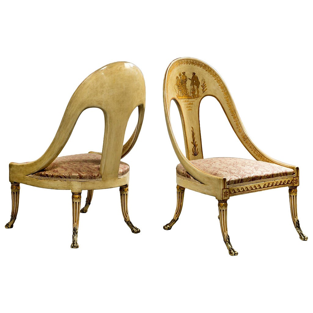 Pair of Antique Roman Style Chairs 1 - Pair Of Antique Roman Style Chairs For Sale At 1stdibs