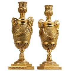 Pair of Silver Gilt Goat's-Head Vases