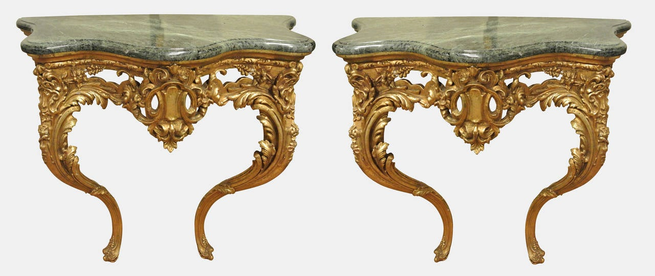 Lovely Pair Of Victorian Giltwood And Gesso Console Tables And Girandole Mirrors 3