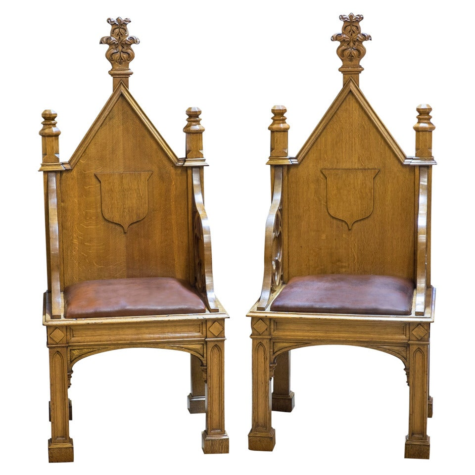 Pair of Gothic Throne Chairs For Sale - Pair Of Gothic Throne Chairs For Sale At 1stdibs