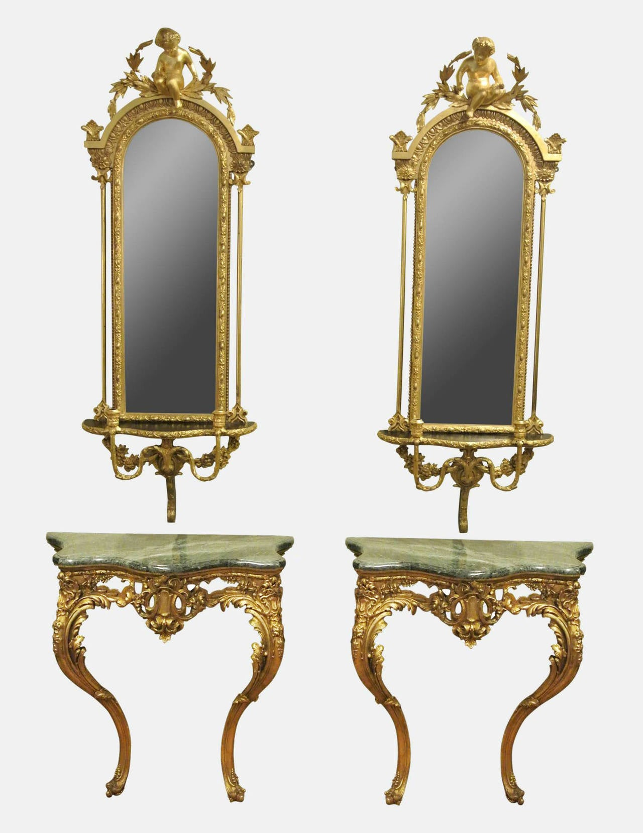 Pair of victorian giltwood and gesso console tables and girandole pair of victorian giltwood and gesso console tables and girandole mirrors 2 geotapseo Images