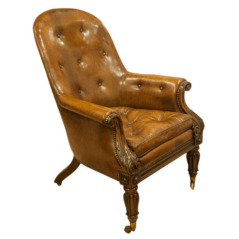 A superb william iv rosewood and leather upholstered library chair at 1stdibs - Library lounge chairs ...