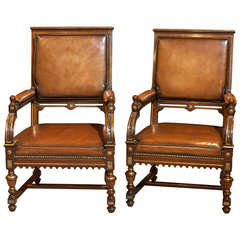 Pair of French Mahogany Armchairs
