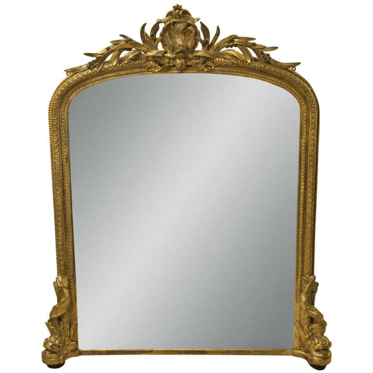 English gilt overmantle mirror with dolphin supports at for Overmantle mirror