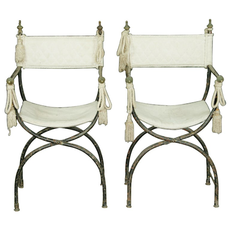 Pair Of French Iron Folding Chairs At 1stdibs