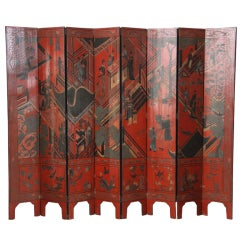 Stunning Chinese Lacquered Screen - Equally Beautiful on Both Sides