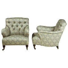 Exceptional Pair of Howard & Sons 'Bridgewater' Armchairs c.1900