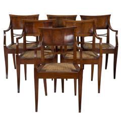 Set of 6 Italian Fruitwood Chairs