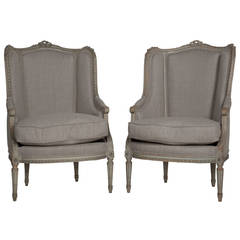 Pair of Painted Wing Armchairs