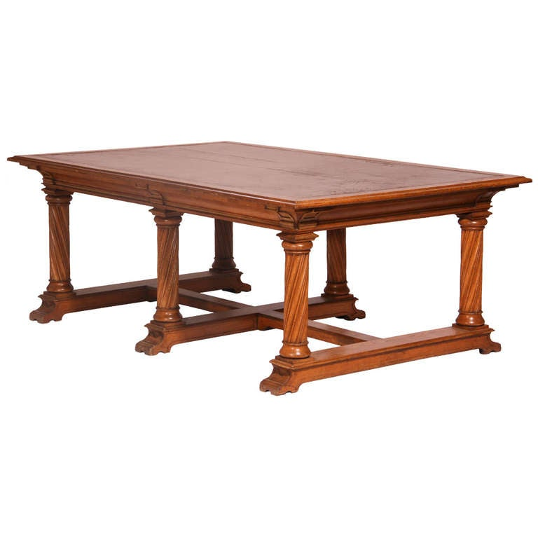 Wooden Library Furniture ~ Oak library table at stdibs