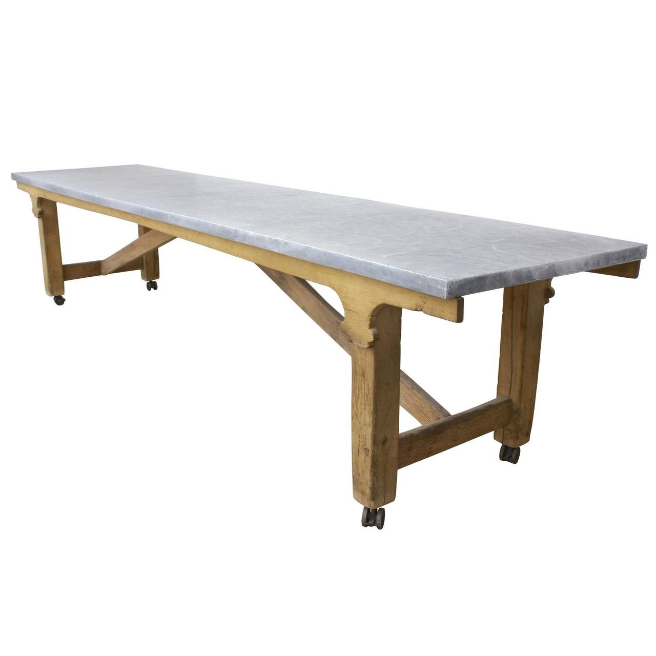 Oak and zinc refectory table at 1stdibs for Table exterieur zinc
