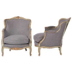 Pair of French Painted Bergeres