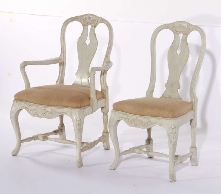 Swedish Rococo Style Dining Chairs At 1stdibs