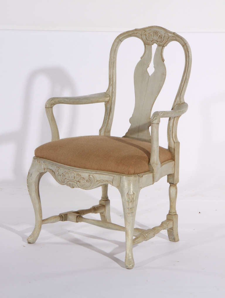 Swedish rococo style dining chairs at 1stdibs for Swedish style dining chairs