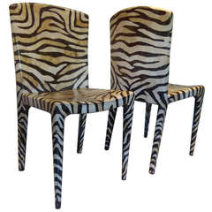 Pair of Egg Shell Zebra Chairs Attributed to Maitland Smith, circa 1970s