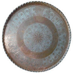 Exquisite & Huge Moroccan Charger Hand Tooled in Copper Wall or Table