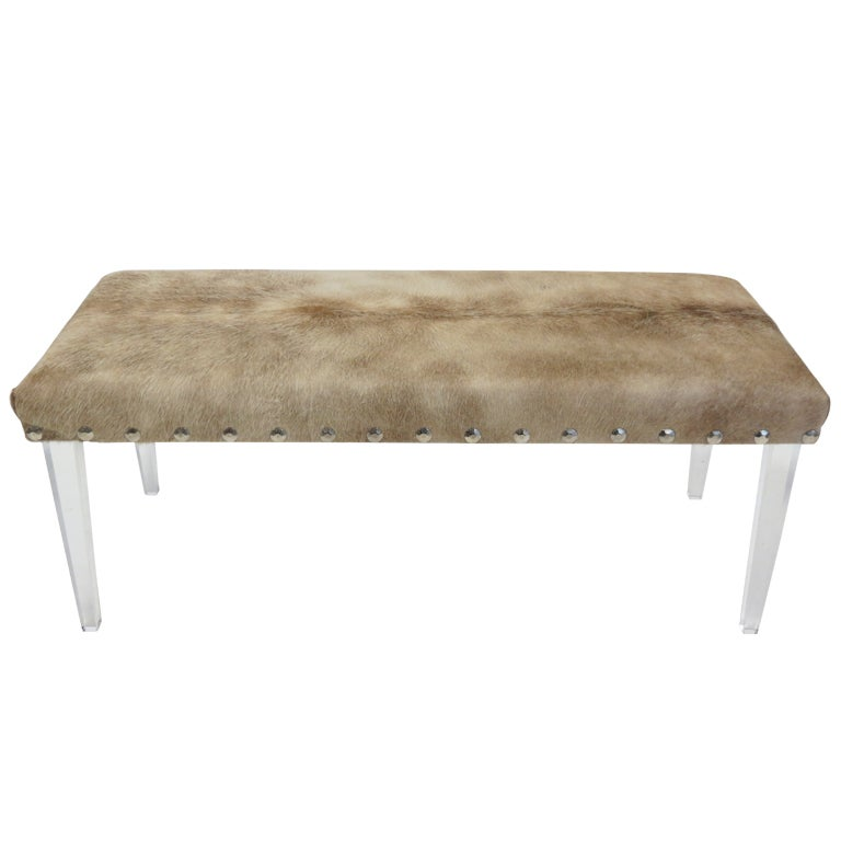 Cowhide Lucite Ottoman At 1stdibs