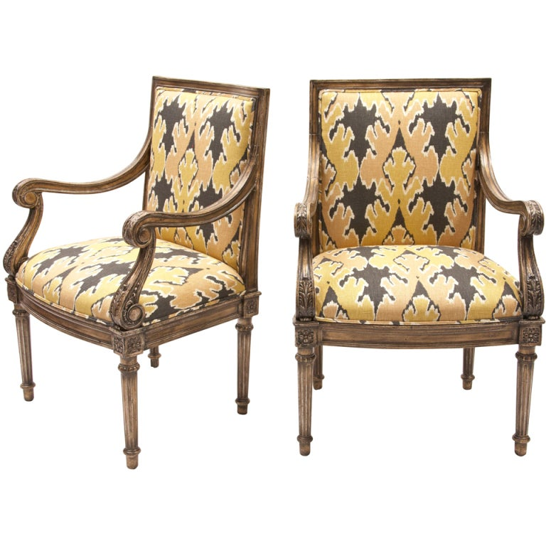 Ikat French Chairs Pair at 1stdibs