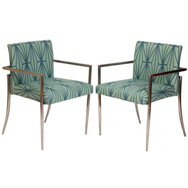 Kelly Wearstler Furniture: Chrome Chairs W/ Kelly Wearstler Fabric, Pair At 1stdibs