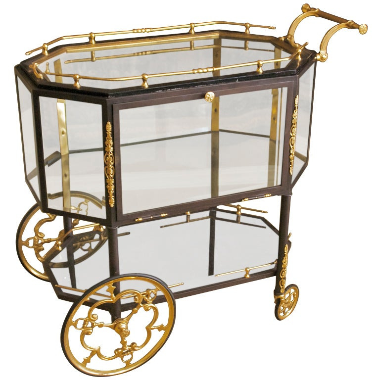 Empire Style Italian Bronze Bar Cart Vitrine At
