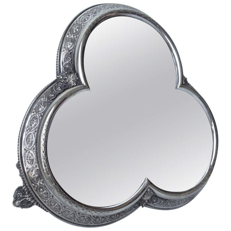 19th Century English Trifoil Mirrored Plateau Attirbuted