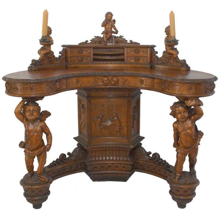 Important Renaissance Revival Walnut Desk By Valentino Besarel 19th Century At 1stdibs