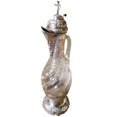 19th Century Dutch Silver and Glass Decanter