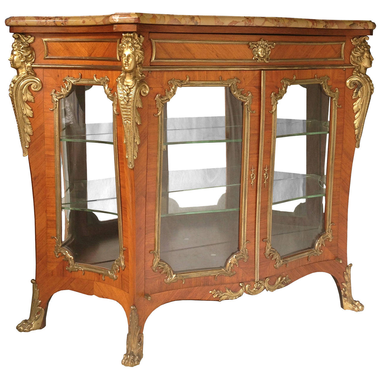 Fine quality french 19th century vitrine cabinet gilt for Sideboard vitrine