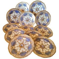 Set of 12 Hand Painted Coalport Dessert Plates Named Scenes of England c 1920