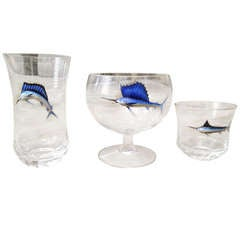 Set of Moser Bar Glass with Jumping Raised Enamel Sailfish 20th Century