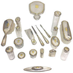 Boxed Ladies' 14-Karat Gold and Sterling Dresser Set by Shreve, 19th Century