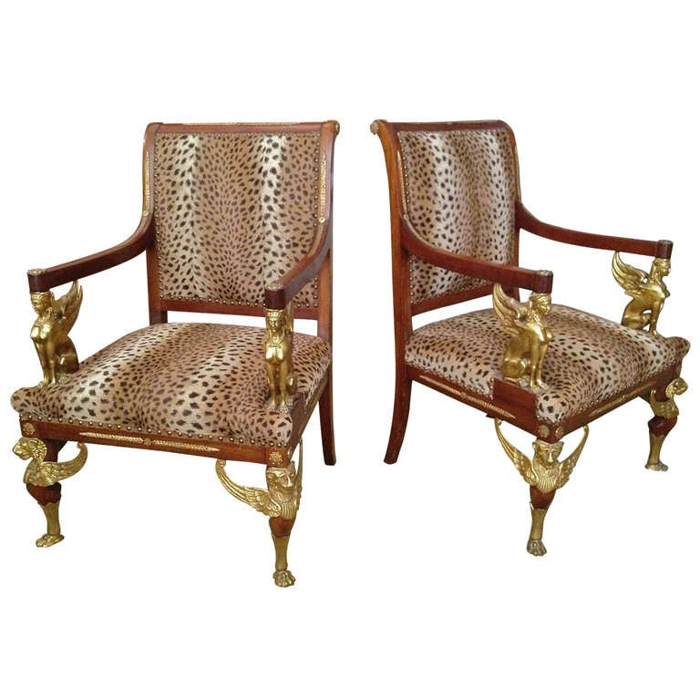 Of Gilt Bronze Mounted Empire Style Thrones Or Chairs At 1stdibs