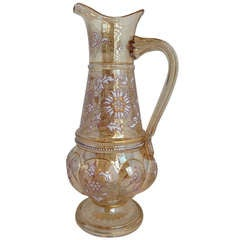 Jeweled Moser Blown Out Decanter Jug Gilt and Enamel Highlights, circa 1900