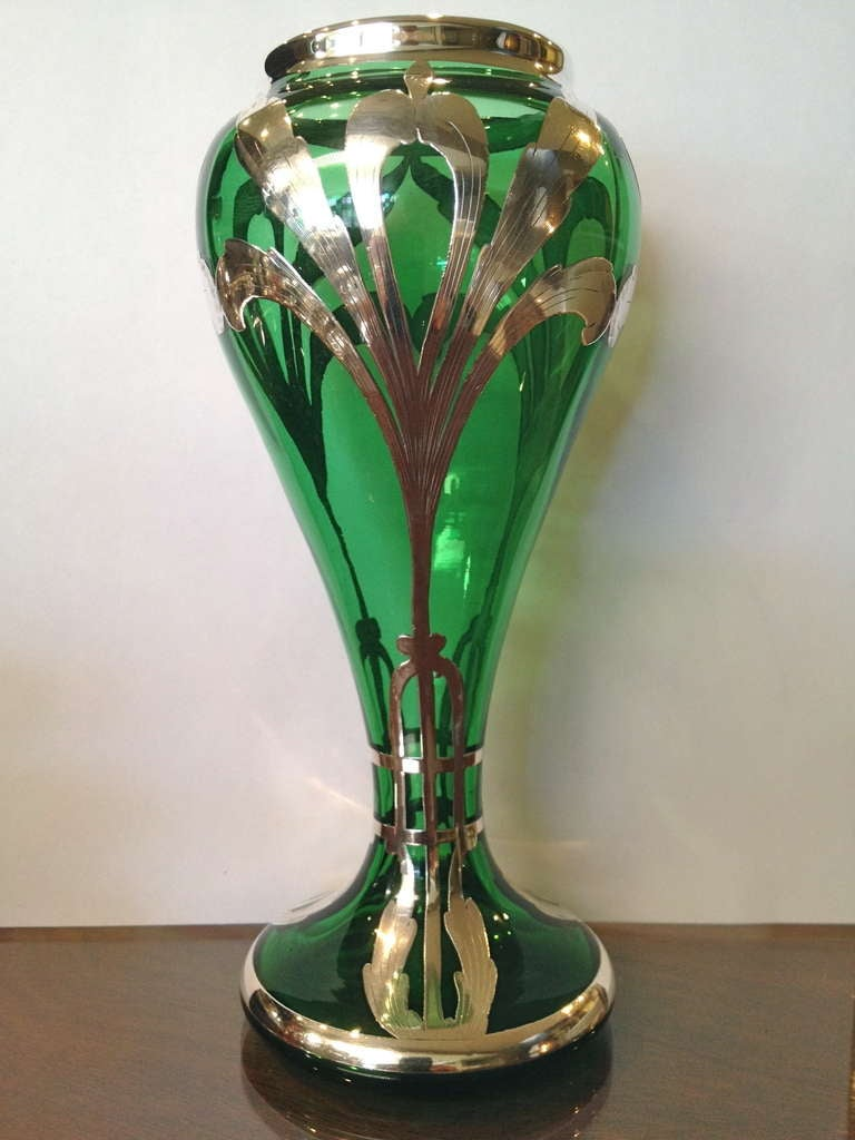 Art Nouveau Green Glass Silver Overlay Vase C 1900 For Sale At 1stdibs