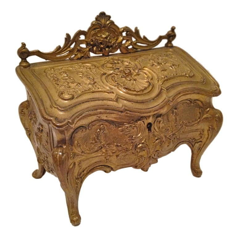 Commode Form Jewelry Casket Gilt Bronze c. 1900 at 1stdibs