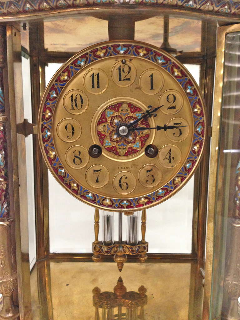 French Champleve Enamel Gilt Bronze and Onyx Clock