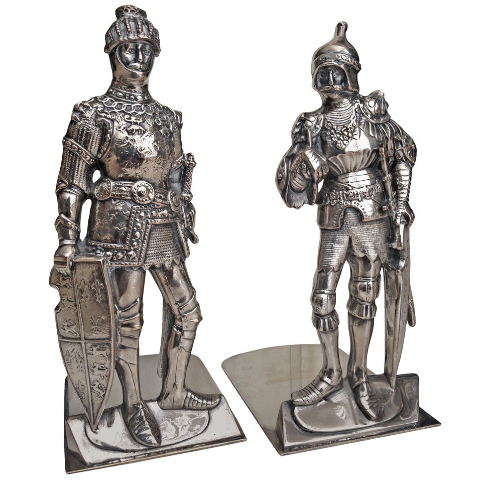 Sheffield Plate on Copper Bookends Knights in \
