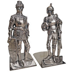 "Sheffield Plate on Copper Bookends Knights in ""Shining"" Armor, 19th Century"