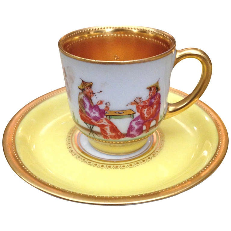German Demi Cup And Saucer By Lamm Chinoiserie Decoration