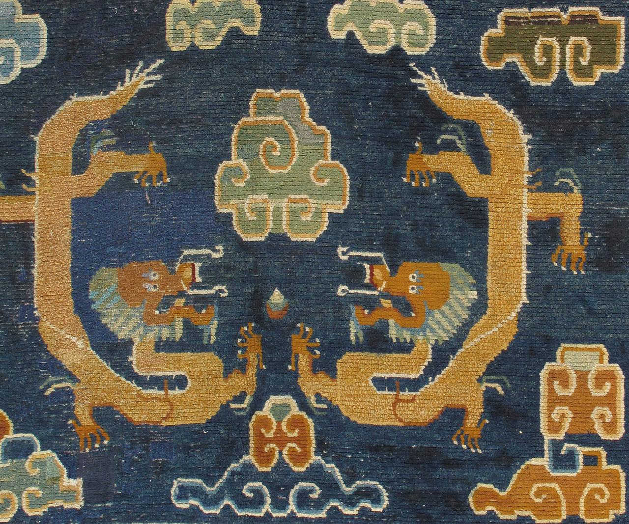 Antique Tibetan Rug: Antique Tibetan Carpet, Circa 1880 Handmade Oriental Rug