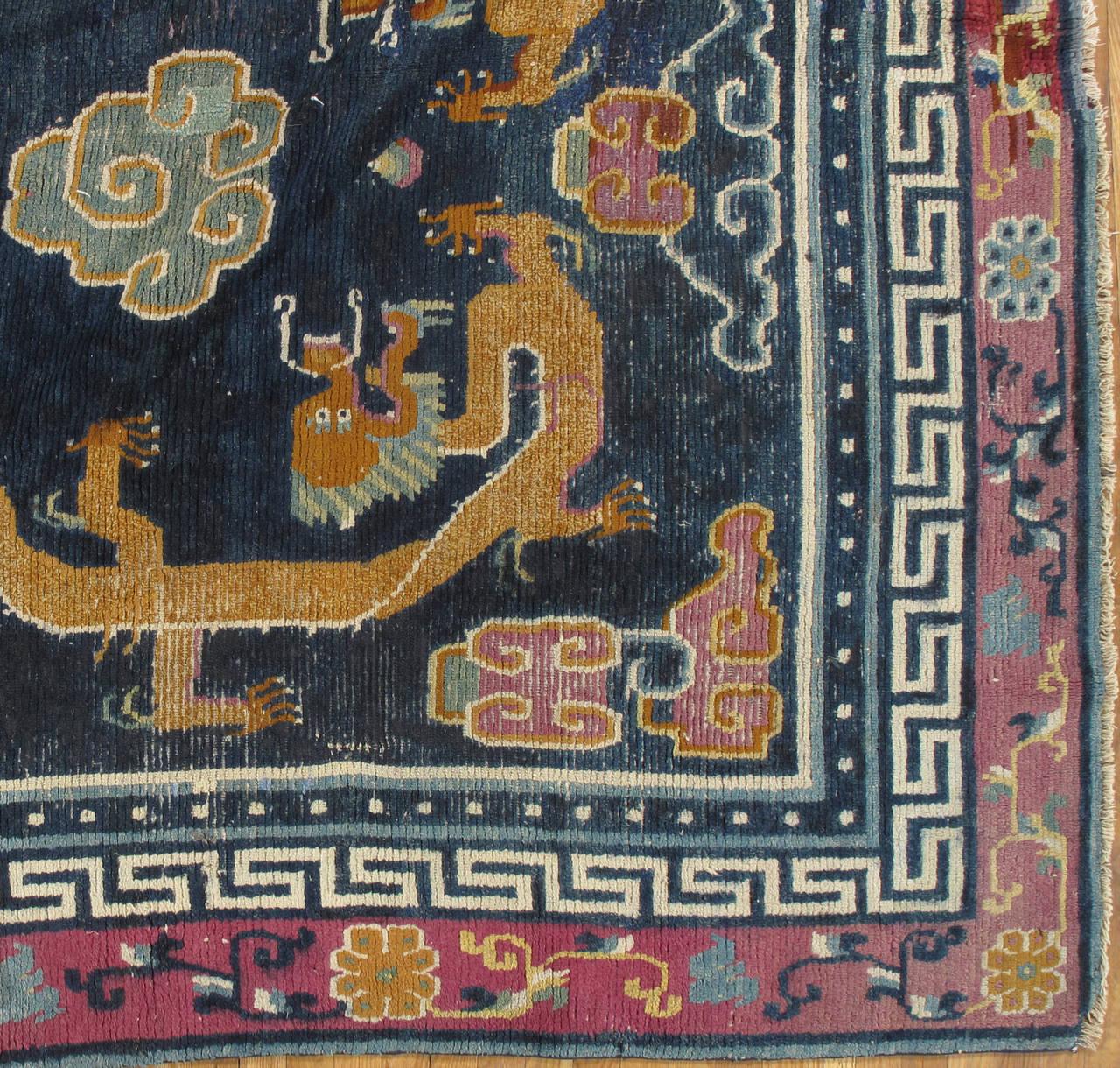 Antique Tibetan Carpet Circa 1880 Handmade Oriental Rug
